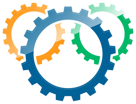 3 overlapping gears, gear wheel abstract icon