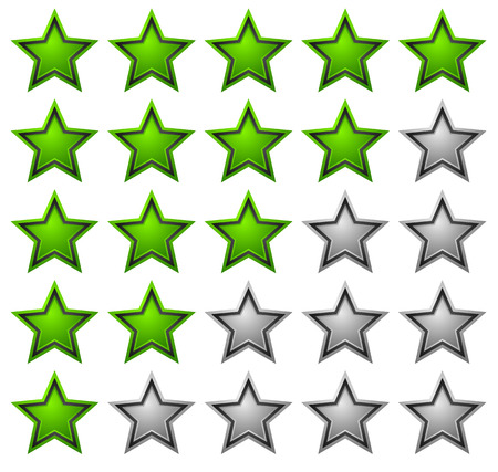 Rating stars with glossy, vibrant stars. (5 star review system)