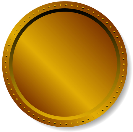 Precious metal badge, button isolated on white