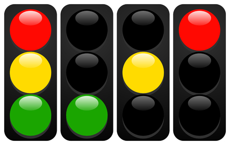 Traffic lights, lamps. Traffic light icons with gloss