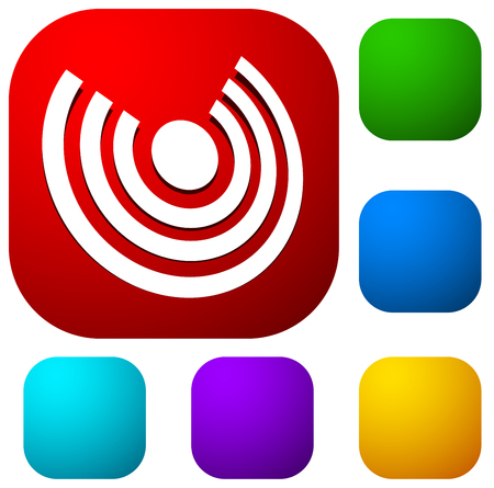 Icon with concentric circles for emitting, rays, signal themes