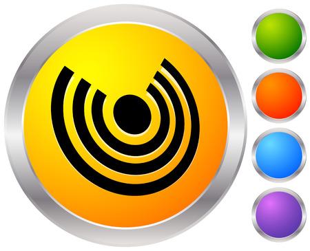 Icône avec des cercles concentriques pour émettre, rayons, thèmes de signal