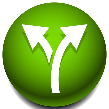 Icon with 2 way arrow. Branch, diversion icon Ilustração Vetorial