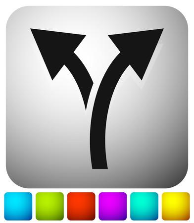 Symbol mit 2-Wege-Pfeil. Zweig, Umleitungssymbol