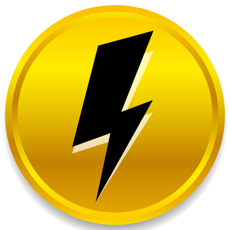 Icon with spark, lighting bolt symbol for electrical themes Иллюстрация