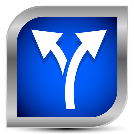 Icon with 2 way arrow. Branch, diversion icon