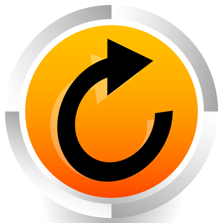 Circular arrow icon. Revolve, rotate, iteration concept icon
