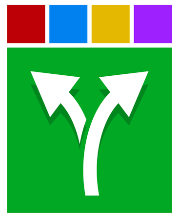 Icon with 2 way arrow. Branch, diversion icon Vectores