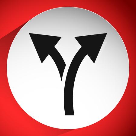 Icon with 2 way arrow. Branch, diversion icon