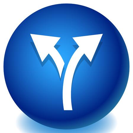 Icono con flecha de 2 vías. Rama, icono de desvío Ilustración de vector