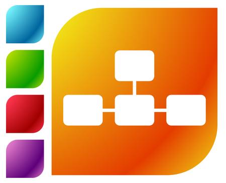 Topological, hierarchical diagram icon, Multilevel chart, graph Vektorové ilustrace