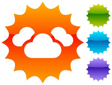 Symbol mit 3 Wolken für Dampf-, Wetter-, Feuchtigkeitsthemen Vektorgrafik
