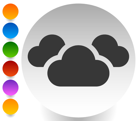 Icon with 3 clouds for vapor, weather, moisture themes