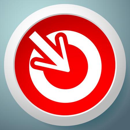 Posizione, precisione, icona del concetto di allineamento, il cursore punta all'interno di un cerchio Vettoriali