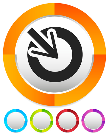 Position, accuracy, alignment concept icon, Cursor points inside a circle