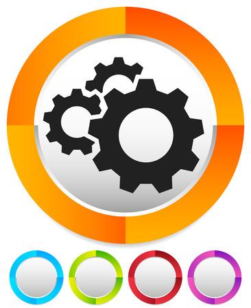 Engrenage, icône de roue dentée. Réparation, entretien, icône de concept de mécanique Vecteurs