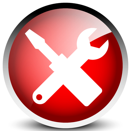 Crossed screwdriver, wrench icon. Repair, maintance, assembly concept icon Çizim