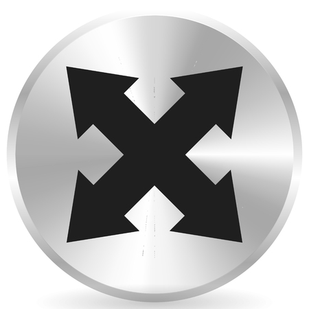 4-way arrow as expand, resize, adjustment, alignment icon Vectores