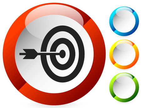 Pfeil, der das Ziel im Zentrumssymbol trifft, Präzisions-, Genauigkeitssymbol Vektorgrafik