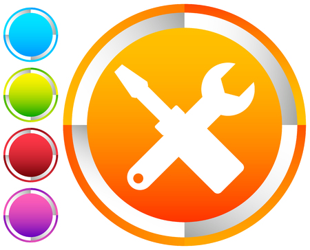 Crossed screwdriver, wrench icon. Repair, maintance, assembly concept icon Illustration