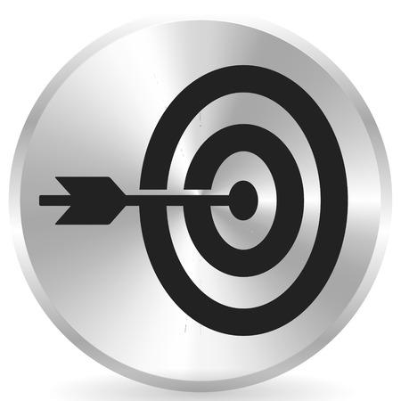 Flèche frappant la cible à l'icône centrale, précision, icône de précision