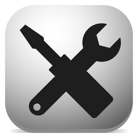 Crossed screwdriver, wrench icon. Repair, maintance, assembly concept icon Vectores