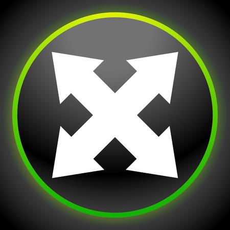 Flèche à 4 directions comme expansion, redimensionnement, ajustement, icône d'alignement Vecteurs