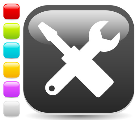 Destornillador cruzado, icono de llave inglesa. Reparación, mantenimiento, icono del concepto de montaje
