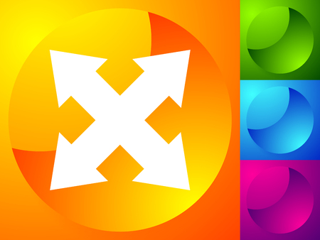 4-way arrow as expand, resize, adjustment, alignment icon 向量圖像