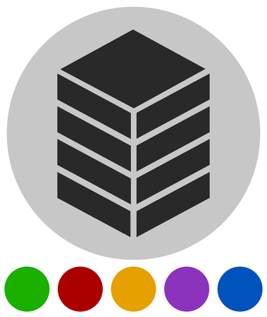 Icon with tower, rack. Storage, container, datacenter concept icon