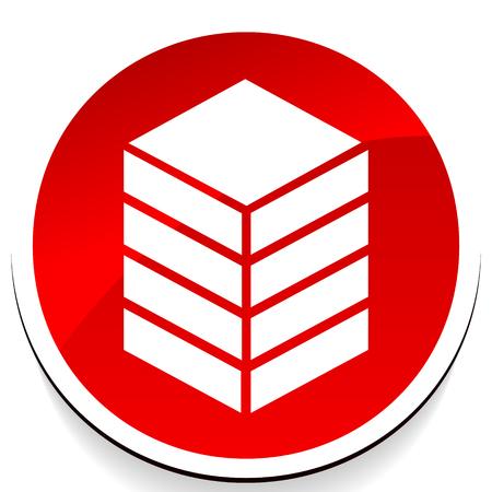 Icône avec tour, rack. Stockage, conteneur, icône de concept de centre de données