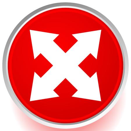 4-way arrow as expand, resize, adjustment, alignment icon Ilustração
