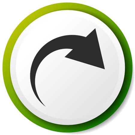 Icona con freccia curva. Piega, torce, ruota concetto icona