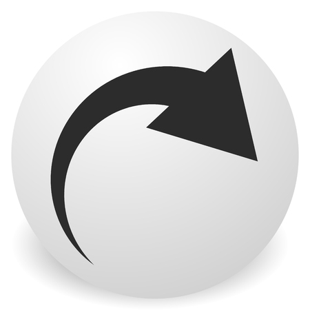 Icon with curved arrow. Fold, twist, rotate concept icon