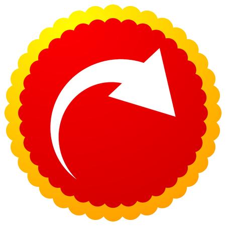 Icona con freccia curva. Piega, torce, ruota concetto icona Vettoriali