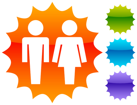 Male / female pictrogram icon. Restroom sign, unisex, genders icon