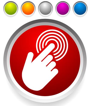 Tippen Sie auf den Touchscreen auf der Benutzeroberfläche, dem Mobiltelefon, dem Symbol Vektorgrafik