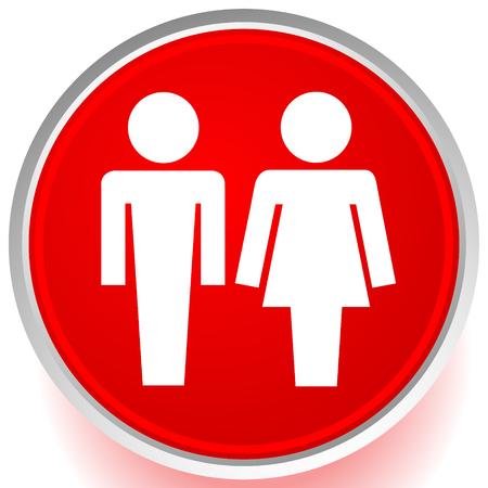 Male  female pictrogram icon. Restroom sign, unisex, genders icon Ilustração