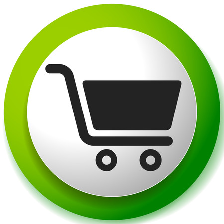 Icon with shopping cart symbol. Ecommerce, online store checkout icon Çizim