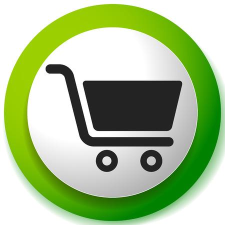 Icona con il simbolo del carrello. E-commerce, icona di pagamento del negozio online Vettoriali