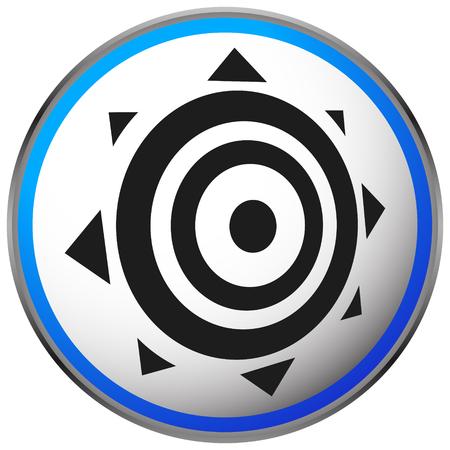 Icon with sun symbol. Solar energy, summer, sun icon