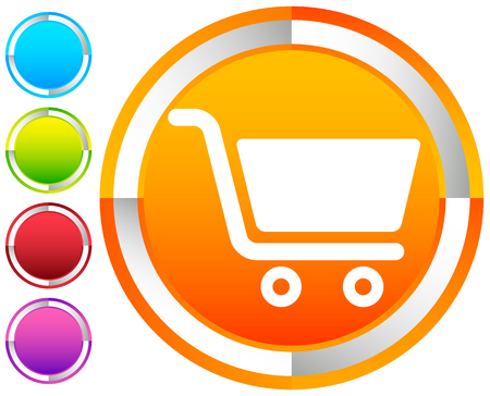 Icon with shopping cart symbol. Ecommerce, online store checkout icon 矢量图像