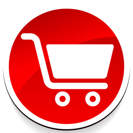 Icon with shopping cart symbol. Ecommerce, online store checkout icon