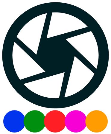Icono de lente de cámara. Fotografía, icono del concepto de diafragma