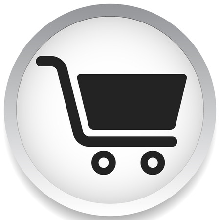 Icon with shopping cart symbol. Ecommerce, online store checkout icon Vettoriali