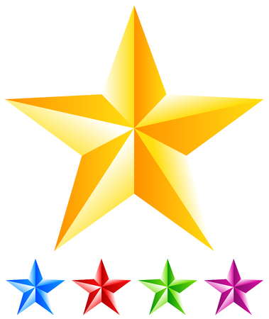 Beveled, faceted 3d star. Gold, yellow, blue, red, green and purple star icon Ilustração