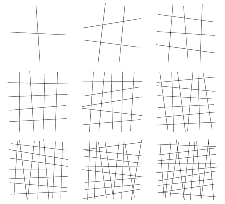 Random lines. Tangled, dynamic lines. Set of 9 element Ilustrace