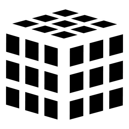 Cube with grid, mesh of squares surfaces. Geometric cube icon, geometric cube symbol