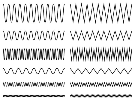 Set of wavy, zig-zag lines. Curvy lines Illustration