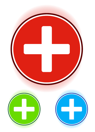 First-aid, treatment icon in red, green and blue